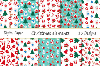 Seamless pattern New Year Christmas elements vector