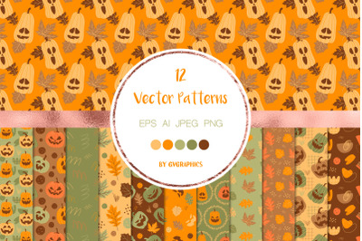 12 Halloween Pumpkins and Fall Leaves Vector Patterns