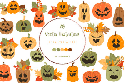 20 Halloween Pumpkins and Fall Leaves Vector Illustrations