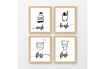 Bathroom Sign Printable files |digital download | Illustrator file |