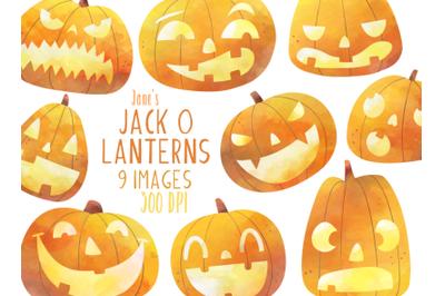 Watercolor Jack O Lantern Set