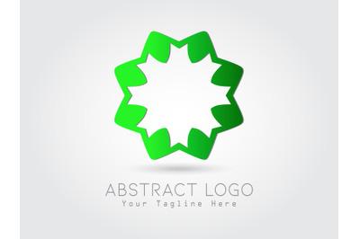 Logo Abstract Flower Gradtion Green