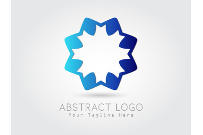 Logo Abstract Flower Gradation Blue