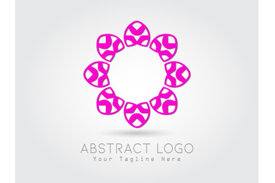 Logo Abstract Flower Pink Color