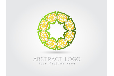 Logo Abstract Combination Gold Green Color