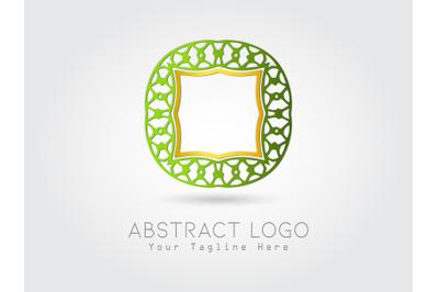 Logo Abstract Combination Gold Green Color Design