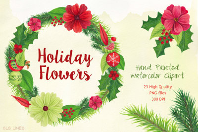 Christmas Holiday Flowers Watercolors