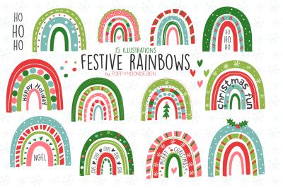 Festive rainbow clipart