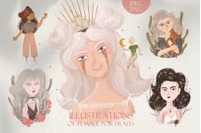 Illustrations of female portraits