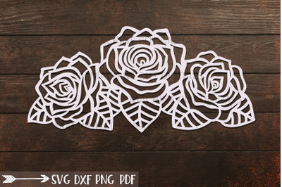 Roses with leaves border svg dxf cut out laser cricut files