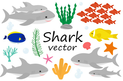 Set cute shark and sea elements vector