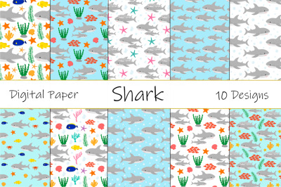 Seamless pattern cute shark vector