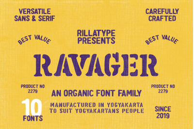 Ravager - Organic Typeface Family (10 Fonts)