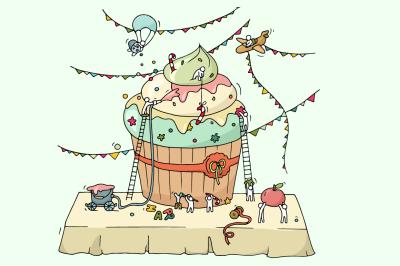 Cartoon people cooking cupcake