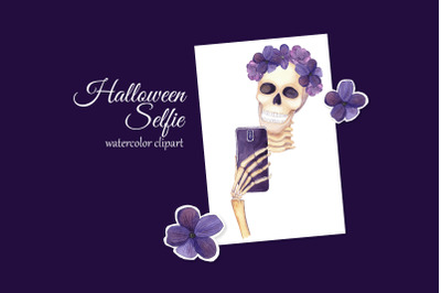 Halloween Selfie Clipart. Glam Skeleton