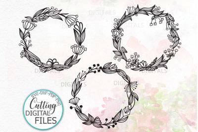 Bundle 3 Summer Floral Wreath Monogram Frame svg dxf digital file