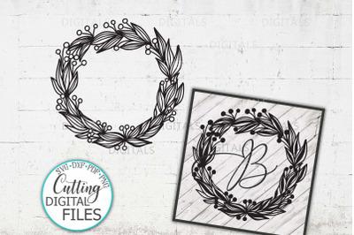 Wreath sign Floral Wreath Monogram Wreath SVG cut file