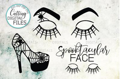 Halloween Face eyelashes high heel for teacher beauty salon svg bundle