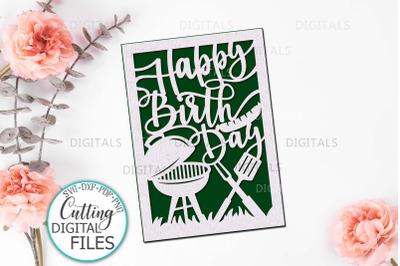 Happy Birthday card papercut svg laser cut cricut template svg dxf