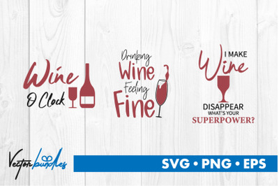 Wine quotes bundle svg