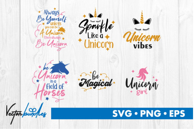 Unicorn quotes bundle svg