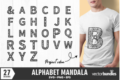 Alphabet mandala svg