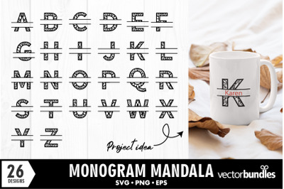 Monogram split alphabet mandala svg