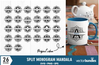 Monogram split mandala svg