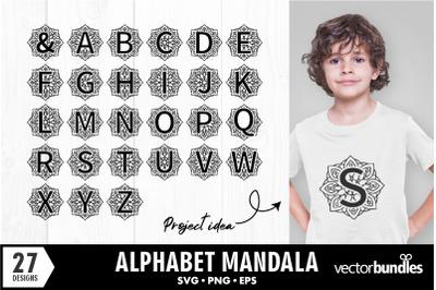 Full alphabet mandala svg