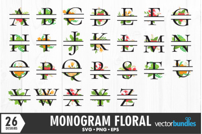 Monogram floral alphabet svg