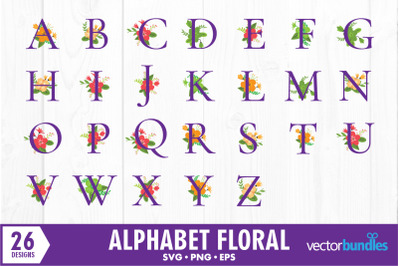Alphabet floral bundle svg