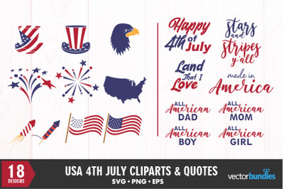 4th july quotes and clip art bundle svg