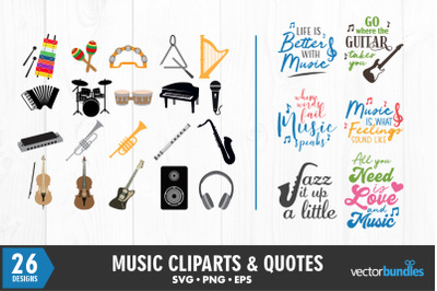 Music clip art and quotes svg