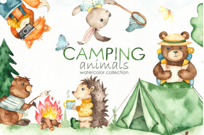 Camping animals Watercolor Clipart
