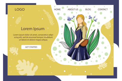 Landing Page Fashion with Girl in blue dresses