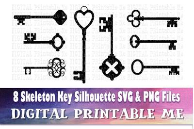 Skeleton Key svg, silhouette bundle, 8 images, PNG, clip art, cut file