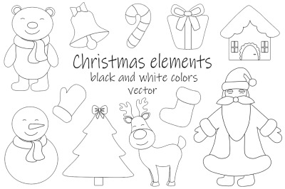 Set New Year Christmas black and white coloring vector