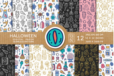 Halloween, magic. Digital paper, seamless pattern.