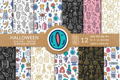 Halloween, magic. Digital paper, seamless pattern.