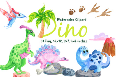 Watercolor Dinosaurs Cute Stegosaurus Clipart Png Jungle