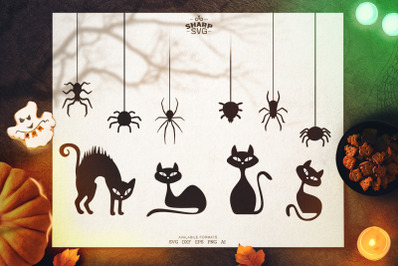 Halloween Decorations Bundle SVG | Cats and Spiders SVG