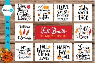 Fall Bundle Svg, Autumn Quotes Bundle