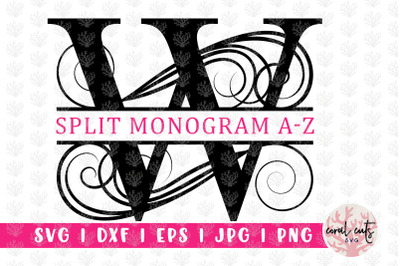 Calligraphic Swirl Split Monogram - Alphabets A to Z - EPS SVG DXF JPG
