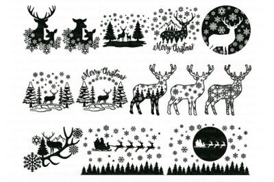 Christmas Scene with Deer Bundle SVG. Deer SVGWinter Scene with Deer
