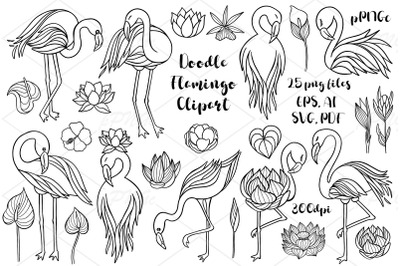 Flamingo doodle clipart, digital stamp, Flamingo lineart