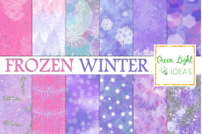Frozen Winter Backgrounds, Snowflakes Textures. Ice Digital Papers