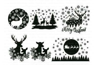 Winter Scene with Deer Bundle SVG, Christmas Deer SVG, Merry Christmas