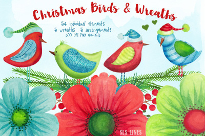 Christmas Birds & Wreaths Watercolors