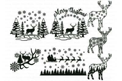 Deer SVG, Christmas Scene with Deer Bundle SVG, Winter Scene with Deer