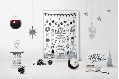 Black Hand Drawn Outlined Christmas Doodle Icons. Xmas. Party Elements